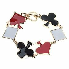 Poker Bracelet Gold Four Suits Clubs Spades Hearts Diamonds Playing Cards NEW