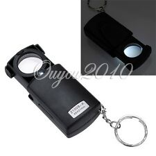 Mini Pocket 45x21mm LED Fold Eye Jewelry Loupe Magnifier Microscope Glass Lens