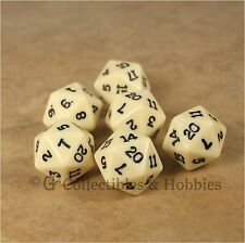 NEW Set of 6 Ivory with Black Numbers D20 Game Dice Twenty Sided RPG D&D