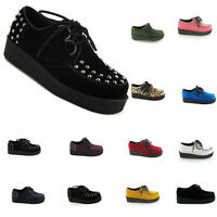 WOMENS CREEPERS PLATFORM WEDGE LACE UP GOTH PUNK SHOES BOOTS BROTHEL UK SIZE 2-9