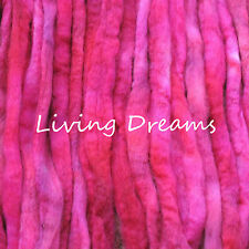 SPIN FELTING hand dyed CHERRY RED Top Wool Roving Craft Fiber NEEDLE SOAP WET