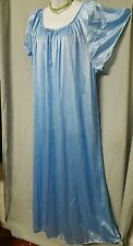 VALENTINE  LIGHT BLUE TRICOT NYLON ANKLE LENGTH NIGHTGOWN  SIZE 3X