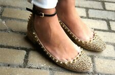 Rare ZARA Beige Leather Gold Studded Jewelled Ballerina Sandals Shoes UK 7 EU 40