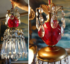 Lamp Vintage ruby Red Lucite SWAG fixture chandelier glass crystal prisms Brass