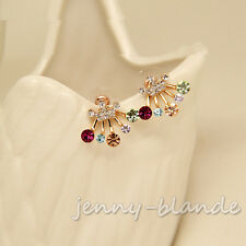 1Pair Women Multicolor Crystal Rhinestone Crown Ear Stud Front and Back Earring