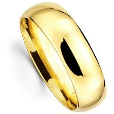 Mens Womens Solid 14K Yellow Gold Plain Wedding Ring Band Comfort Fit 7MM size 8