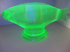 NEON FISH bowl vtg uranium art glass vaseline aquarium giant clam black light
