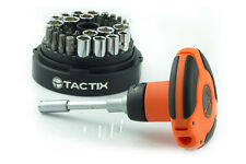 TACTIX 46pc Ratcheting Palm Screwdriver Socket Bit Set T-Handle SAE Metric Tool