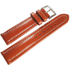 20mm deBeer Mens Havana Oil Tan Leather Contrast White Stitch Watch Band Strap