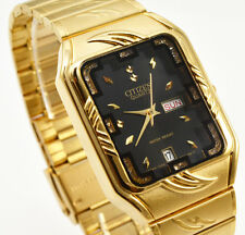 Citizen Day Date Gold Steel Rectangle Black Crystal Dial Analog Men Watch 070M