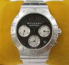 BVLGARI Diagono Chronograph Stainless Steel Men's Watch Automatic Black CH 35 S