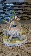 Scheibe Alsbach Germany Porcelain Figurine Lady With Lambs