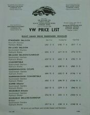 Volkswagen UK Price List July 1959 - Beetle, Microbus, Karmann Ghia