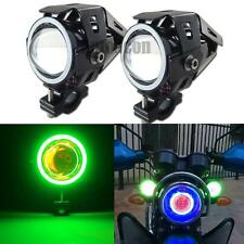 2pcs White LED Motorcycle Spot Lights w/ Green COB Angel Eye Red Devil Lights