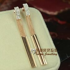 18CT Rose Gold Plated Long Stylish Shinning Stud Earrings W/Swaroski Crystals