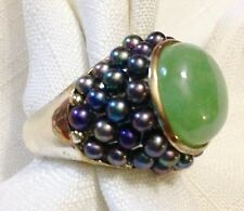 Estate Sterling 925 Cabochon JADE JADEITE Tahitian Pearl Dome Ring Size 12