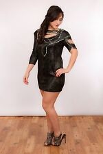sexy cut out gun metal beaded gold shimmer dress from River Island sz 12 bnwt