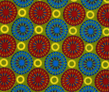 African Fabric 1/2 Yard Cotton BLUE RED GREEN YELLOW Abstract Circles BTHY