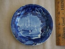 "Historical Staffordshire 3 3/4"" CUP PLATE / SAUCER - SAILING SHIP Wood & Sons"