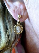 VTG Antique 1950's Gold Tone CAMEO Carved Pierced Earrings