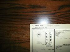 1977 Jeep Series Cherokee Wagoneer 360 CI V8 4BBL SUN Tune Up Chart Great Shape!