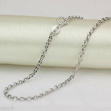 "Authentic Fine Real 18K White Gold Necklace 2mm Cable Chain  2.22g 17.7"" J.Olay"