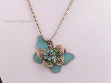 Fashion Antique Bronze Crystal Butterfly Flower Pendant Chain Necklace 27.5''