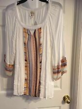 Fig and Flower Peasant Top Blouse off whitel Tunic Shirt Boho  Size XL NWT
