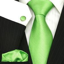 UK Men's Necktie Plain Solid Lime Green Twill Wedding Luxury Silk Tie Set
