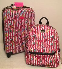 "BETSEY JOHNSON HARDSIDE LUGGAGE ""CANDY LANE"" 20"" SPINNER SUITCASE & BACKPACK NWT"