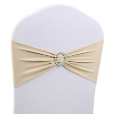 50 X Spandex Stretch Wedding Chair Cover Band Sashes With Buckle Bow Slider