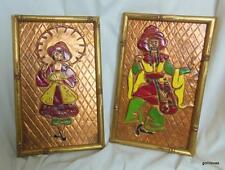 Vintage Set of 2 Framed Copper Relief Pictures Oriental Man & Woman Hand Painted