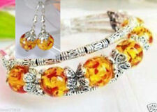 Beautiful Handmade Tibet Tibetan Silver Amber Bracelet AND matching Earrings