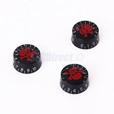 3 UNIQUE Red Skull Head Crossbones Black Speed Control Knobs for Electric Guitar