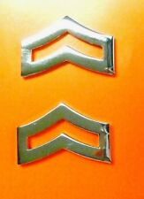 "Corporal Chevron Collar Device Pin Set 1"" Rank Insignia Police Nickel 763 New"