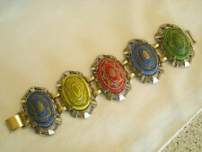 Vintage Chunky Bracelet. Egyptian Revival Oval or Cameo Style Colored Glass