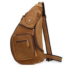 Men's Vintage Genuine Leather Shoulder Bag Sling Bag Chest Brown Backpacks Large