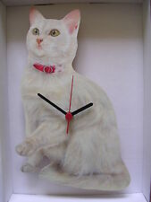 White Cat with Red Collar Wall Clock. New & Boxed