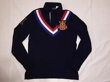 NWT POLO RALPH LAUREN MEN'S CUSTOM FIT #3 RUGBY FLEECE POLO SHIRT- NAVY-LARGE