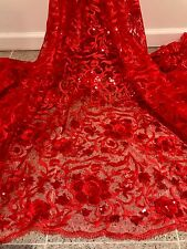 """RED EMBROIDERY SEQUINS RHINESTONE BEIDAL LACE FABRIC 50"""" WiIDE 1 YARD"""