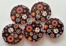 5 30mm black multicolour circles flowers heart star pattern 4 hole wood buttons