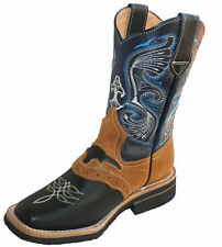 Men cowboy boots Genuine Cowhide Leather square toe rodeo western BOOTS $65.99