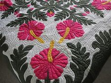 """Hawaiian quilt wall hanging handmade 100% hand quilted/appliqued BEDSPREAD 80"""""""