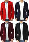Mens Designer Marc Darcy Velvet Blazer Jacket Tailored Fit Coat Tuxedo 4 Colours
