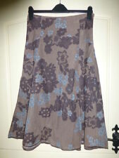 Monsoon size 8 brown cord skirt with truquiose and brown floral pattern