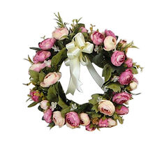 "11"" Artificial Simulation Rose Garland Wall Haning Wreath Wedding Party Decor"
