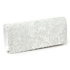 SATIN LACE FLORAL FLOWER PROM WEDDING EVENING CLUTCH HANDBAG CHAIN GIFT