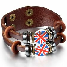 Brown Leather Cord Union Jack UK Flag Surfer Bracelet Wristband for Men Women