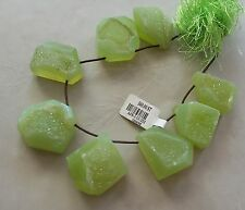 8 Natural Green Agate Crystal Druzy Gemstone Large Briolette Pendant Beads