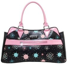 Sourpuss Sputnik Camille Purse Baby Pink Retro Mid Century NEW Atomic Print Teal